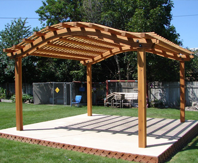 option in pergola design is displayed here a curved roof pergola