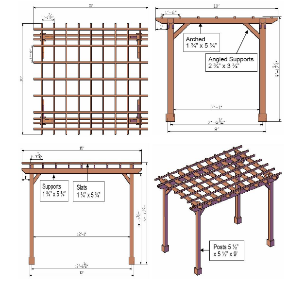 Pergola Elevation Designs: How To Draw Pretty And Useful Pergola Plans