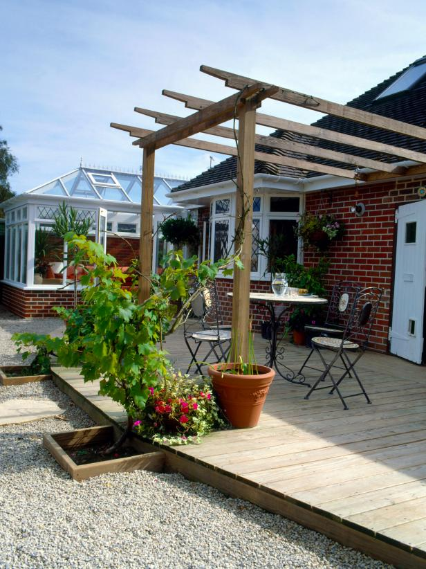Photo by www.diynetwork.com - How To Easily Attach A Pergola To Your House